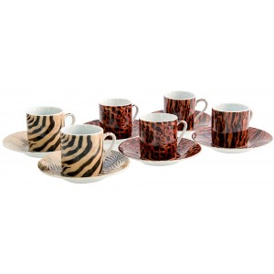 Coffret 6 tasses à café porcelaine Safari