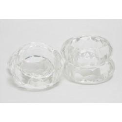 Lot de 4 ronds de serviette transparent Cristal biseauté