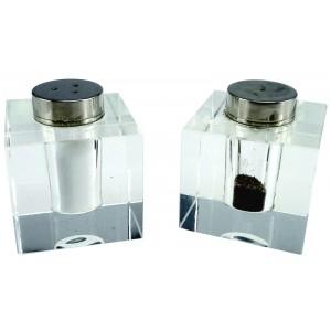Poivre et sel design en verre carré