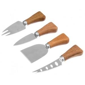 Lot de 4 couteaux à fromage inox manche bois d'acacia