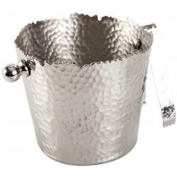 Seau à glaçon métal martelé avec pince