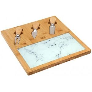 Service à fromage plateau en verre et bambou et set de 3 couteaux