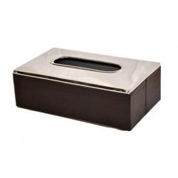 Boîte à mouchoirs rectangle croco choco et inox