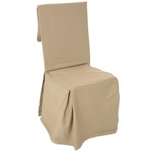 Housse de chaise en coton couleur lin L.45 x l.45 x H.85 cm