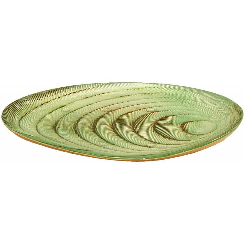 Vide-poches design doré et vert d'eau L.20,5 cm