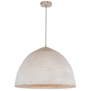Suspension lustre conique seagrass naturel blanc
