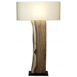 Lampadaire pied bois brun abat-jour rectangle en lin H.147 cm