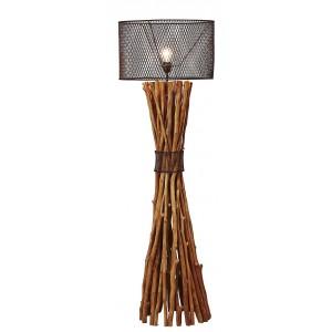 Lampadaire bois flotté abat-jour en métal H.149 cm