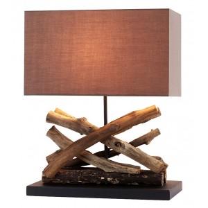 Lampe à poser bois flotté abat-jour rectangle en coton H.50 cm Akoa