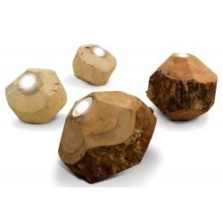 Lampe à poser au sol bois naturel rond irrégulier D.30 cm Kukio