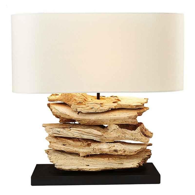 Lampe à poser bois flotté abat-jour en lin H.50 cm Keokea