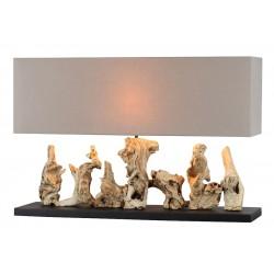 Lampe à poser design bois flotte abat-jour rectangle en lin L.80 cm Pahala