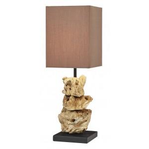 Lampe à poser bois flotté en galets abat-jour en coton H.44 cm Lanai