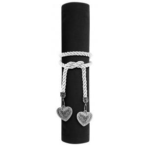 Lot de 4 ronds de serviette corde breloques Cœurs argenté