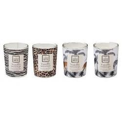 Coffret de 4 bougies parfumées vanille Jungle H.8 cm