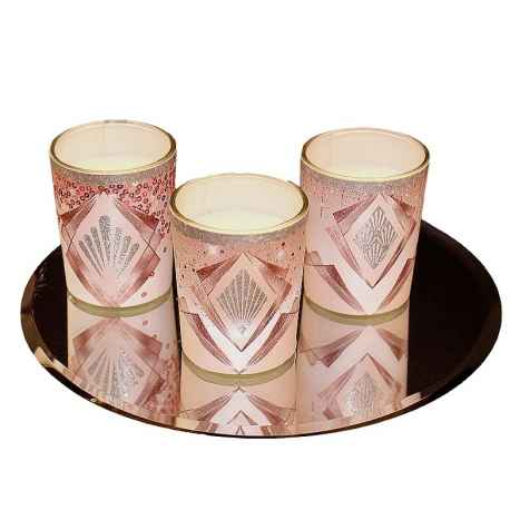Coffret de 3 bougies parfumées roses H.6 cm