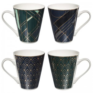 Lot de 4 tasses à thé bleu nuit et bleu turquoise