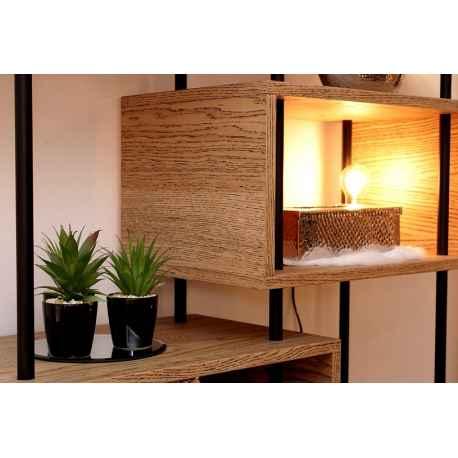 Bibliothèque étagère bois chêne clair et métal noir L.100xl.35xH.206 cm