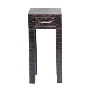 Table de chevet design simili cuir de crocodile marron 1 tiroir