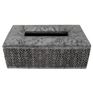 Boîte à mouchoirs simili cuir taupe argenté