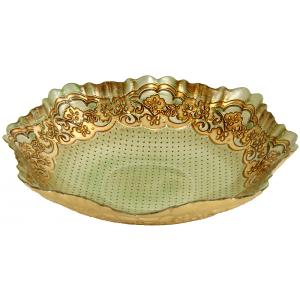 Coupe en verre amande et dorée D.30cm