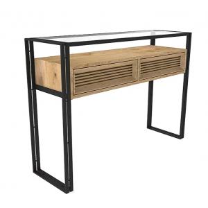 Console bois structure métal et verre L.120 cm