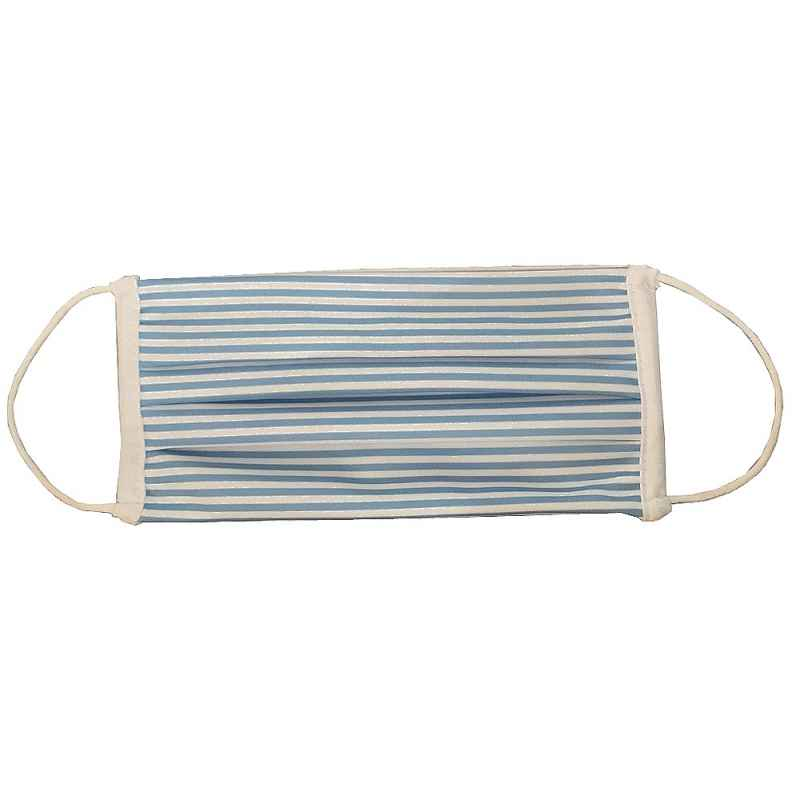 Masque adulte/enfant en tissu à rayures bleues normes AFNOR