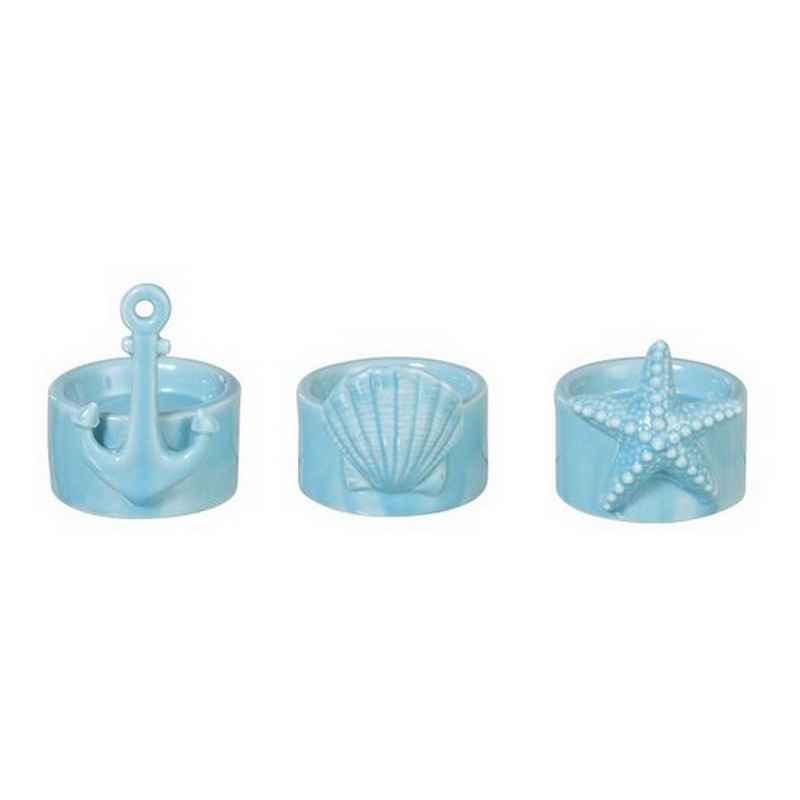 Set de 3 bougeoirs en porcelaine bleu