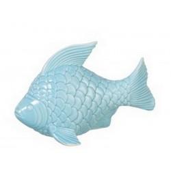 Poisson décoratif en porcelaine bleu