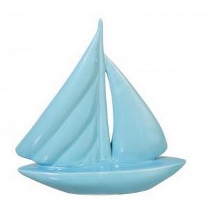 Bateau décoratif en porcelaine bleu