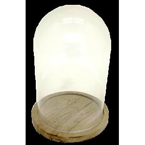 Cloche en verre, socle bambou H.26 cm