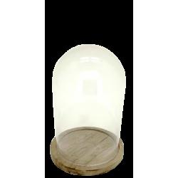 Cloche en verre, socle bambou H.19 cm