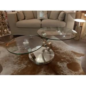 Table basse en verre trempé et métal brossé Julia