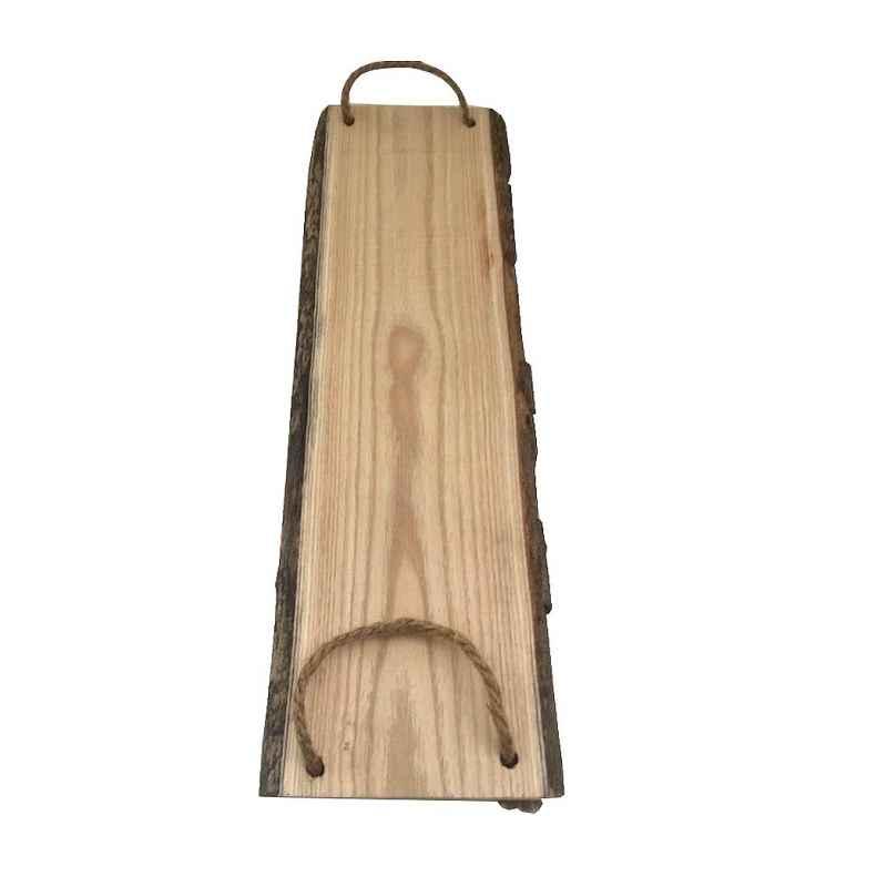 Plateau rectangulaire en bois et corde L.54,5 x l.16 cm