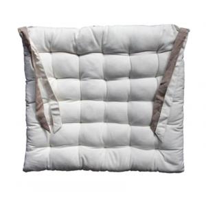 Galette de chaise blanche et beige 40x40cm