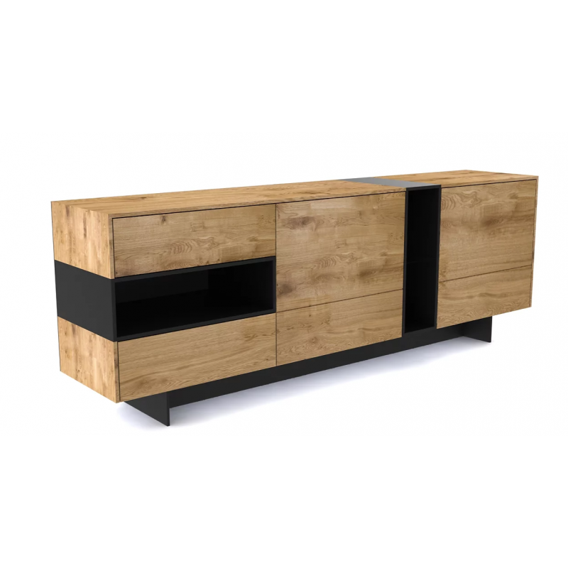 Buffet chêne clair et noir 4 tiroirs/2 portes L.200xl.40xH.70 cm