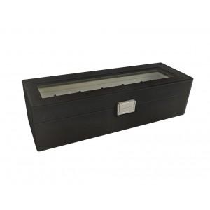 boite à montres noire 6 rangements L33.5 x l12 x H9cm