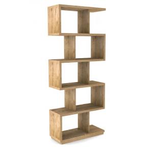 Bibliothèque étagère bois chêne clair et métal noir L.80xl.34xH197 cm