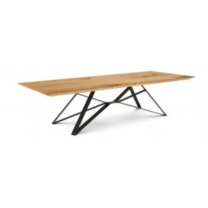 Table à manger chêne pieds métal doré L.240xl.100xH.78 cm