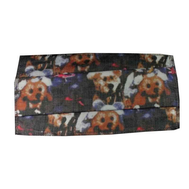 Masque H/F en tissu chien gris et marron normes AFNOR