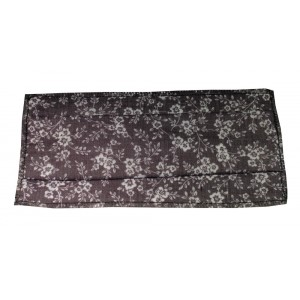 Masque H/F en tissu gris fleurs blanches normes AFNOR