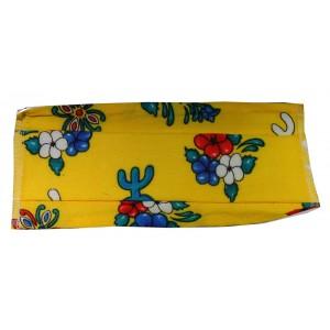 Masque H/F en tissu jaune fleuri normes AFNOR