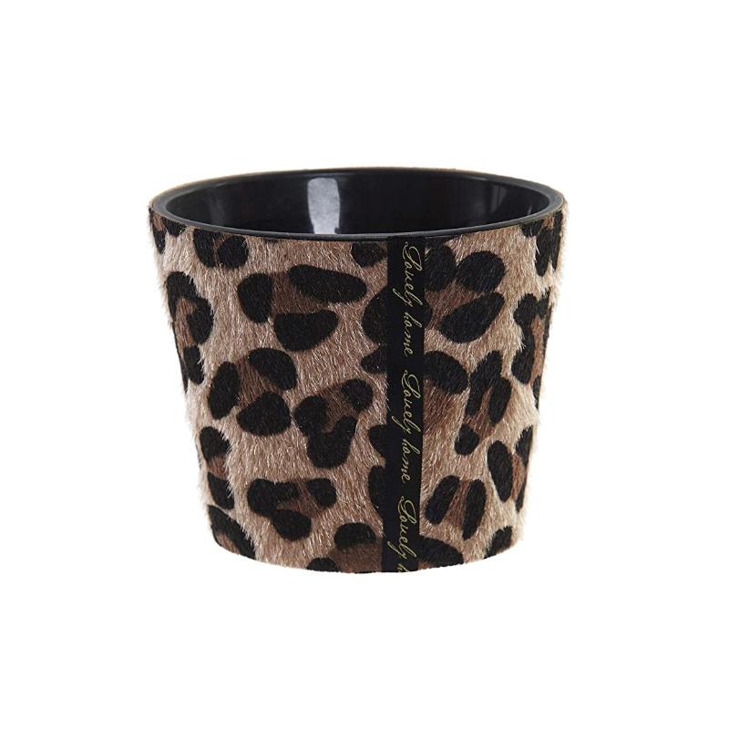 Bougie parfumée en verre tissu léopard noir et marron