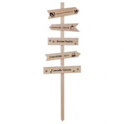 Pancarte bois enneigé H.120 cm