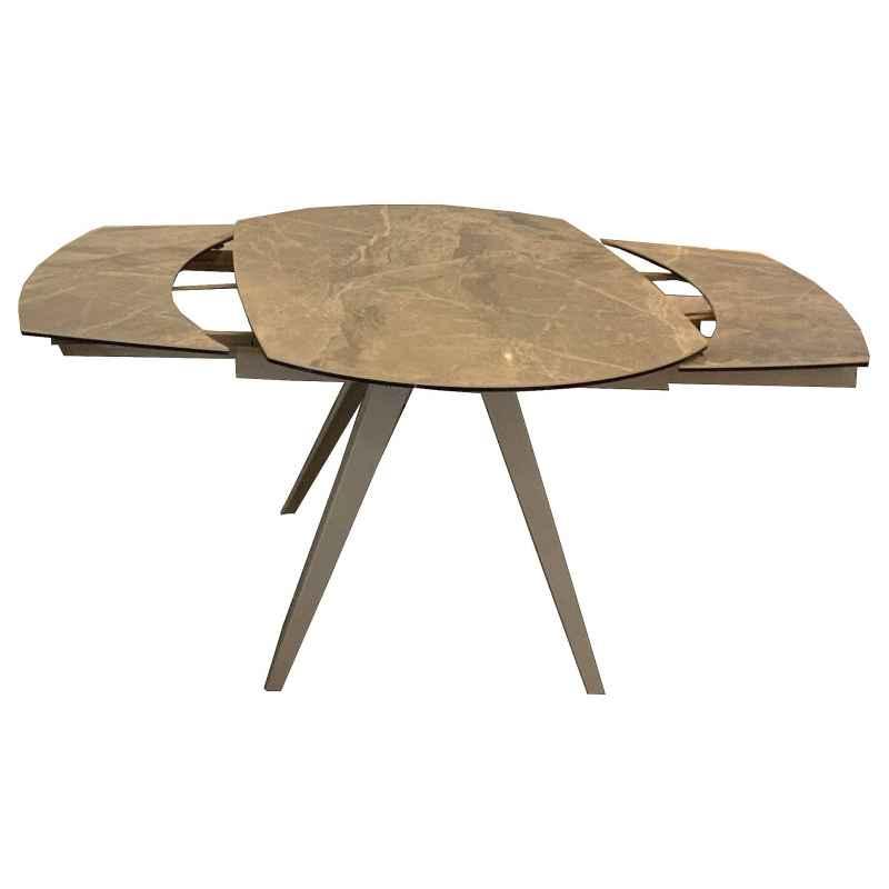 Table à manger céramique façon marbre taupe L.120-180xl.90xH.75 cm