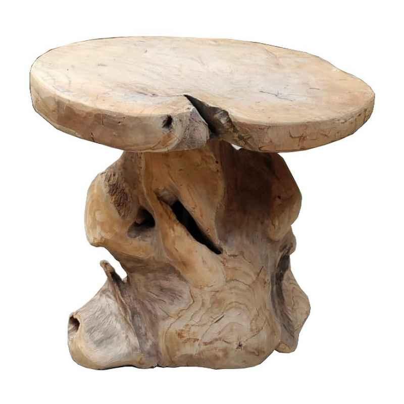 Bout de canapé bois massif racine de teck