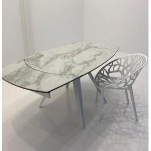Table à manger céramique façon marbre blanc L120-180 x l.90 x H.75cm