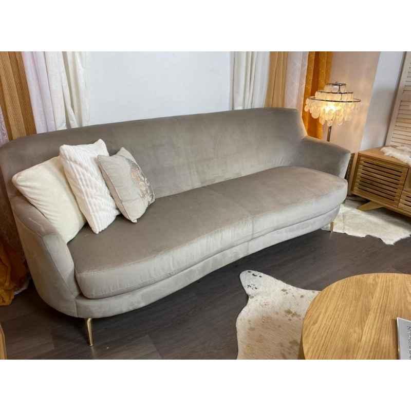 Canapé en velour taupe L.216 x l.88 x H.86cm