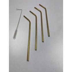 Lot de 4 pailles en métal doré et goupillon