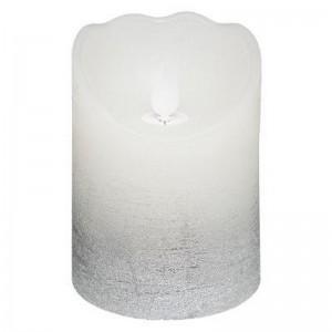 Bougie LED argentée H.10cm